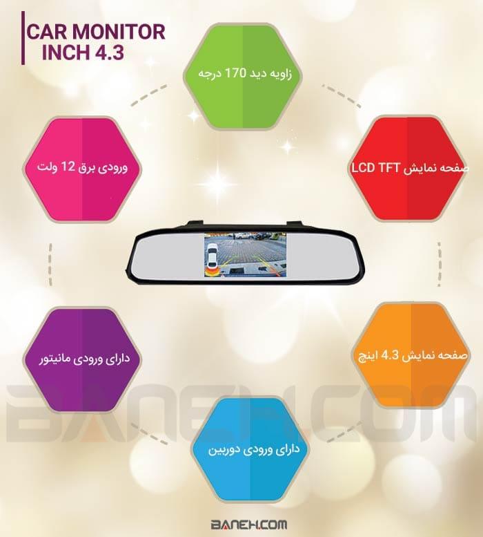 اینفوگرافی مانیتور آینه ای 4.3 اینچی