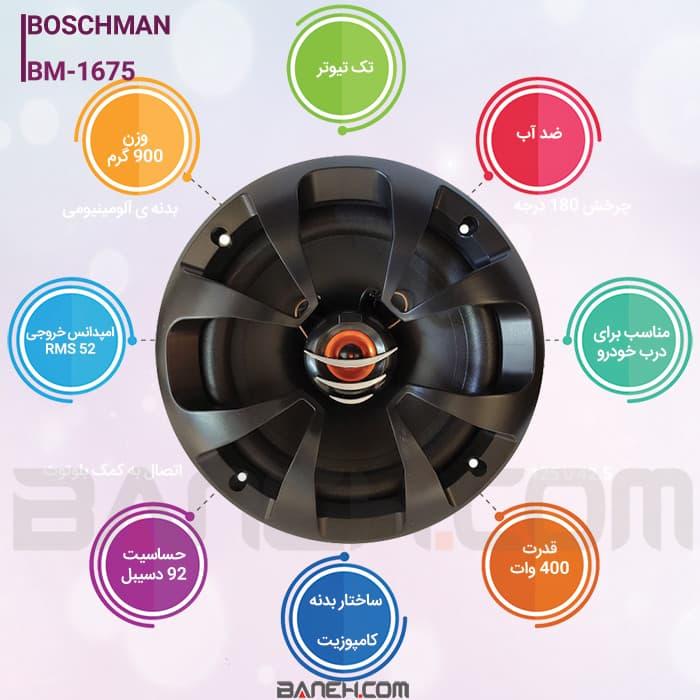 اینفوگرافی اسپیکر خودرو بوشمن 400 وات مدل BOSHNMAN CAR SPEAKER BM-1675