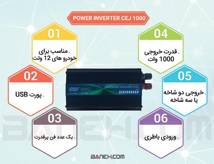 اینفوگرافی مبدل برق خودرو سی ایی جی 1000 وات CEJ 1000W CAR POWER INVERTER