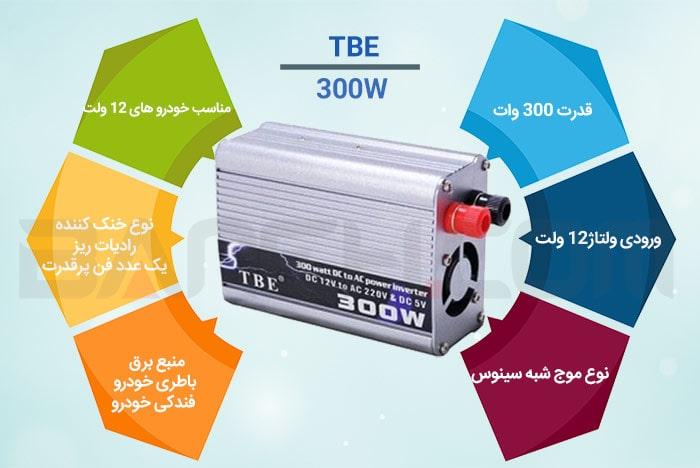 اینفوگرافی مبدل برق شبه سینوسی خودرو 300 وات TBE 300W POWER INVERTER