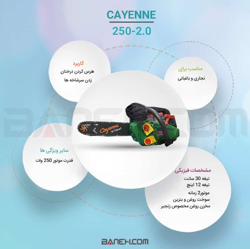 اینفوگرافی اره موتوری 250 وات کاین cayenne 250-2.0