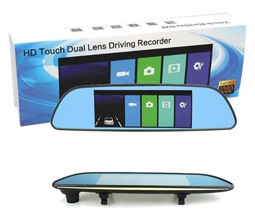خرید دوربین خودرو آینه ای دو لنز HD TOUCH DUAL LENS DRIVING RECORDER