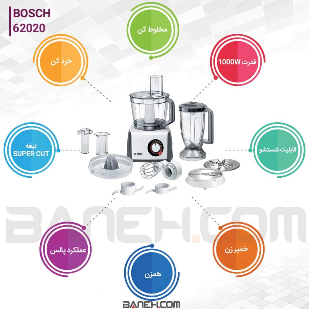 اینفوگرافی غذا ساز بوش مدل 62020