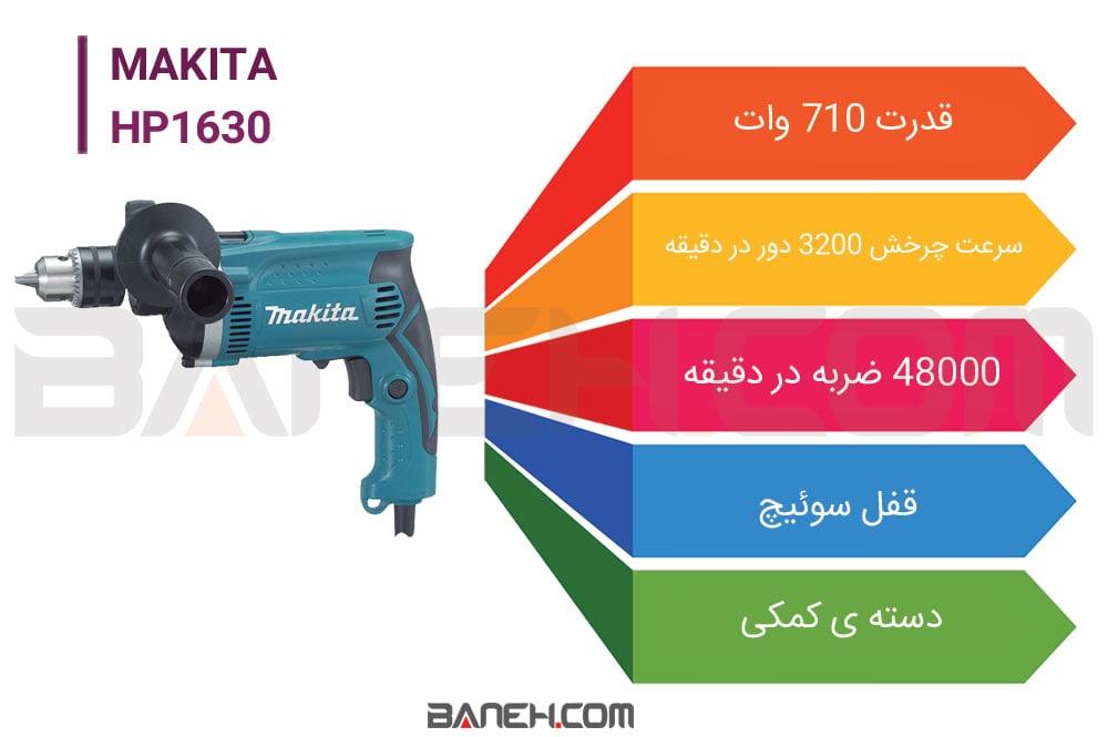 اینفوگرافی دریل چکشی ماکیتا HP1630