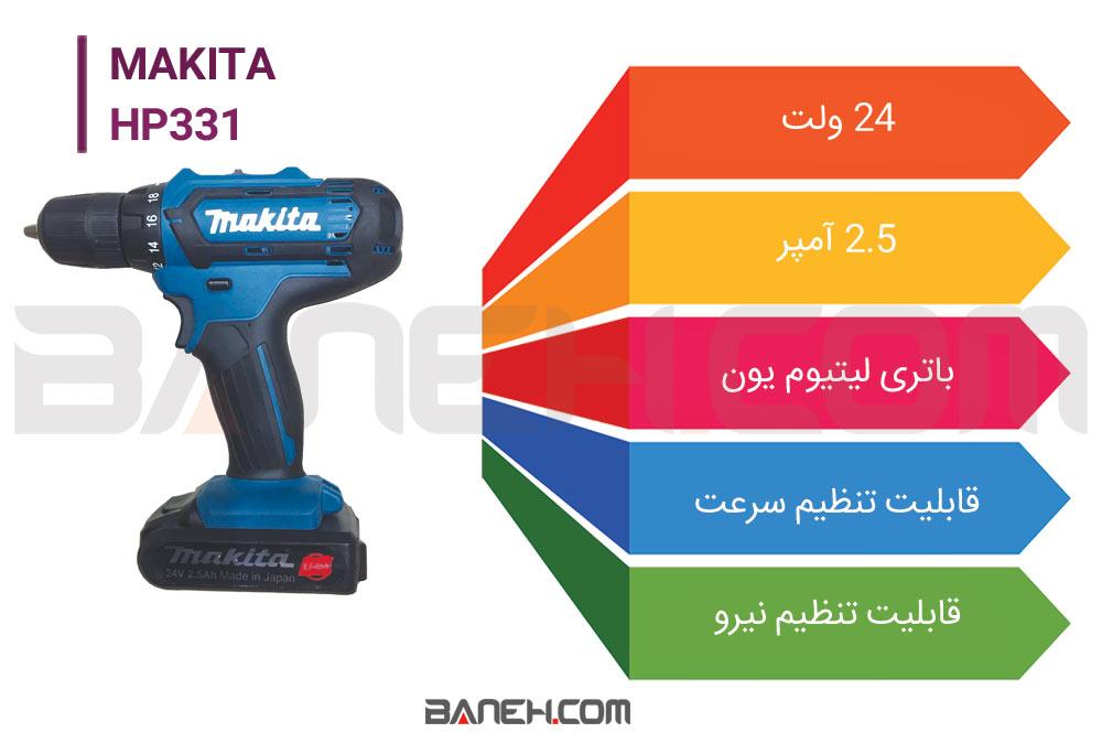اینفوگرافی دریل شارژی ماکیتا HP331