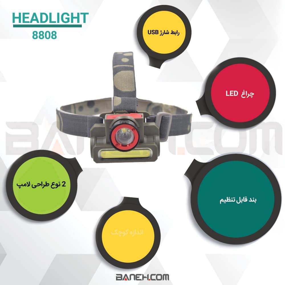 اینفوگرافی چراغ پیشانی پلیسی دو حالته مدل 8808 Headlight