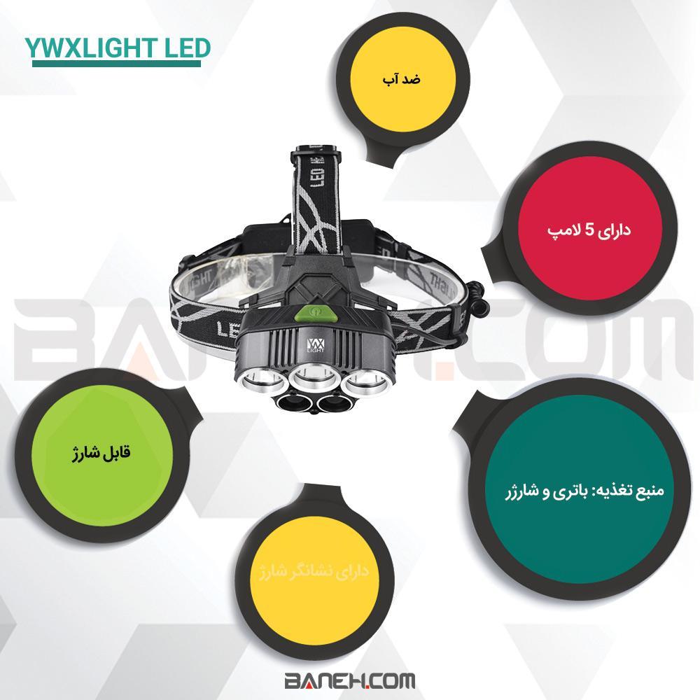 اینفو گرافی چراغ پیشانی پلیسی اسمال سان 5 لامپ YWXLight LED