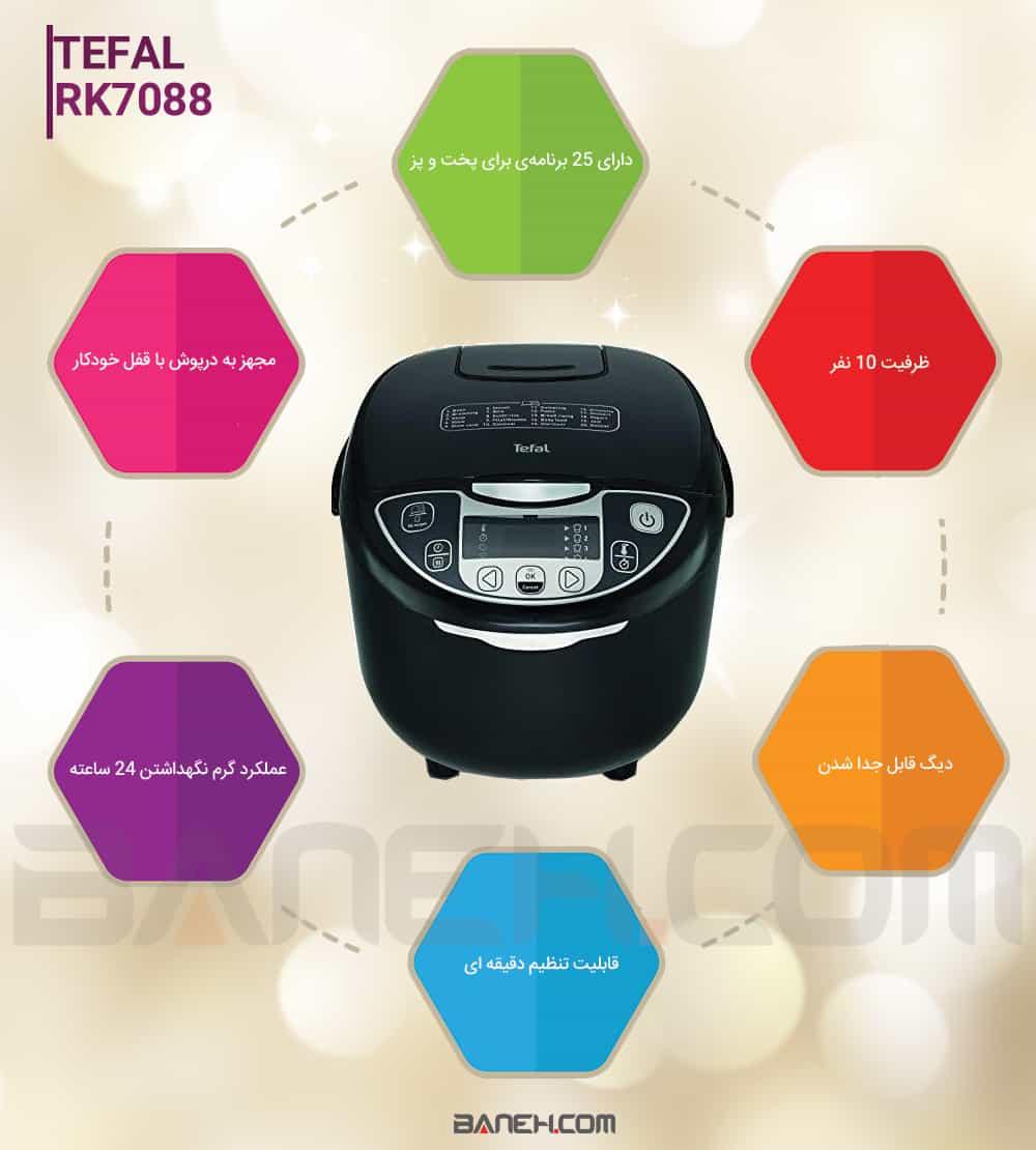 اینفوگرافی پلوپز تفال 10 نفره مدل TEFAL RK7088 Rice Cooker