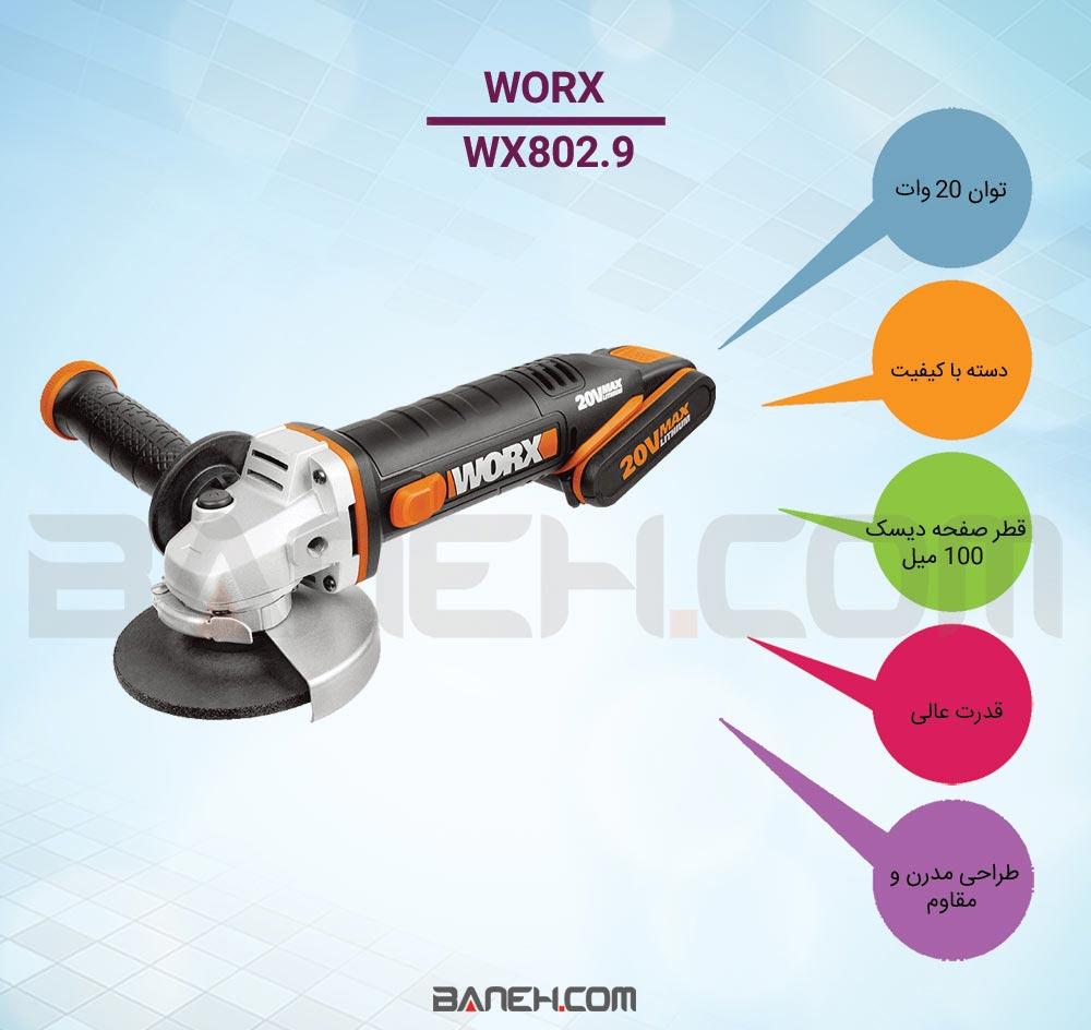 اینفوگرافی مینی سنگ شارژی ورکس WORX RECHARGEABLE MINI STONE WX802.9