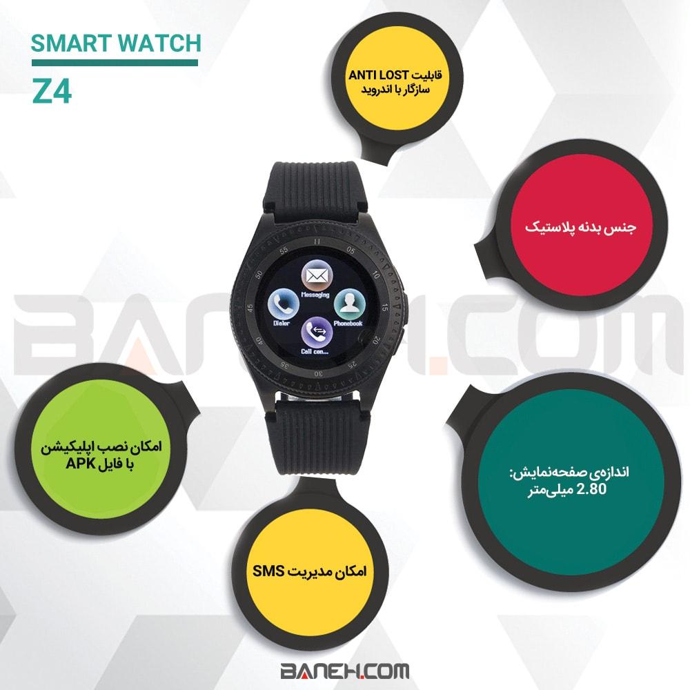 اینفوگرافی ساعت هوشمند همراه بند سیلیکونی یدکی SMART WATCH WITH SPARE STARP Z4