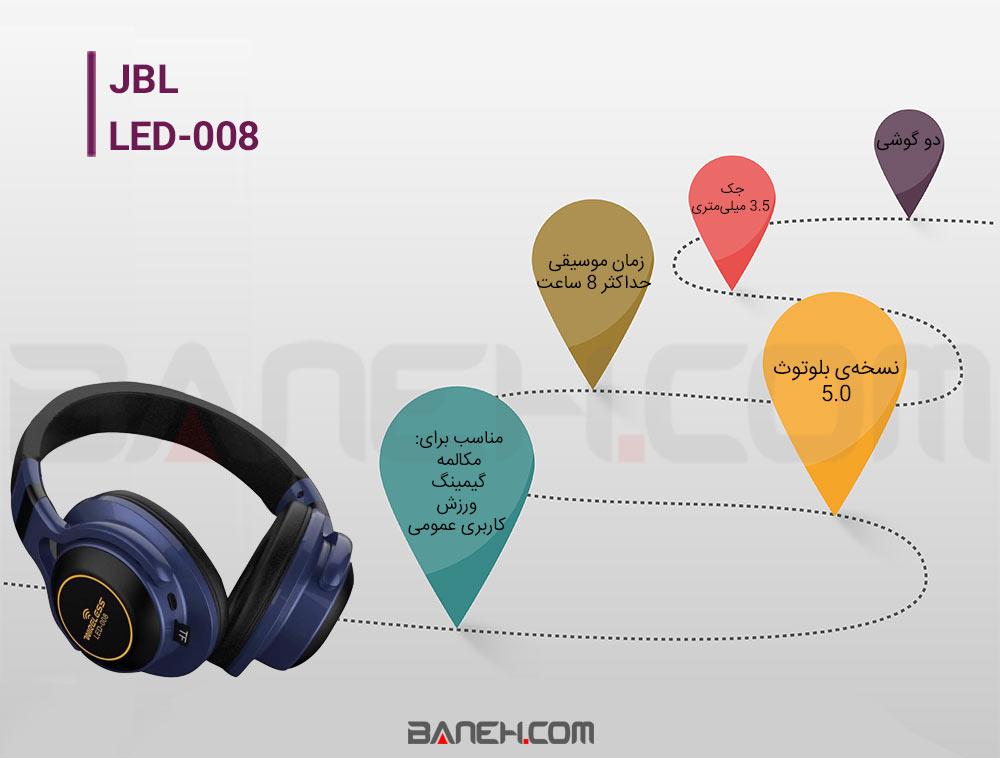 اینفوگرافی هدفون بی سیم جی بی ال JBL WIRELESS HEADPHONE LED-008