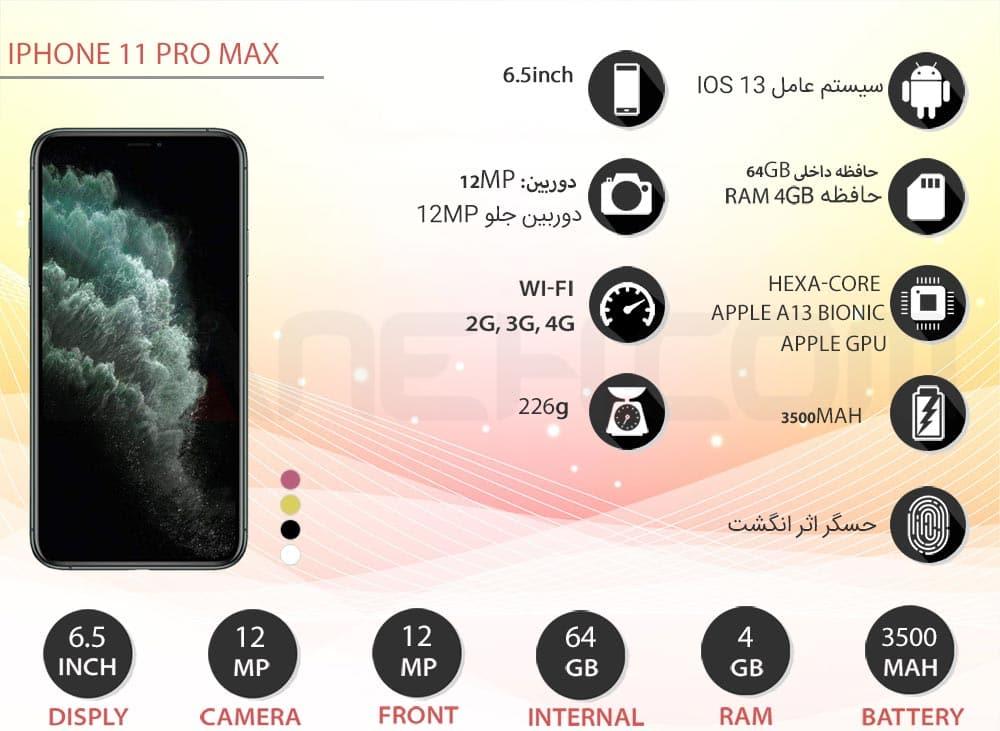 اینفوگرافی گوشی اپل ایفون 11 پرو مکس دو سیم کارت Apple iPhone 11 PRO MAX 64GB