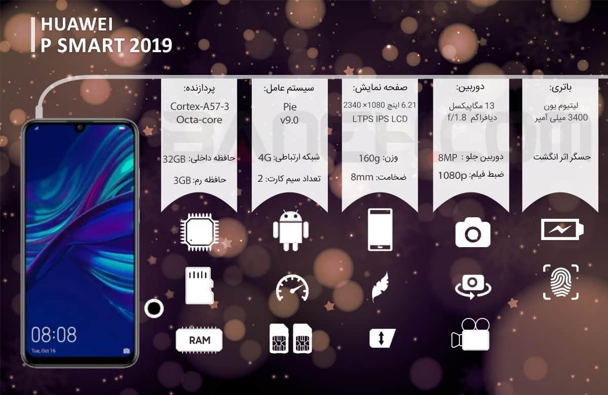 اینفوگرافی مدل گوشی هواوی P Smart 2019