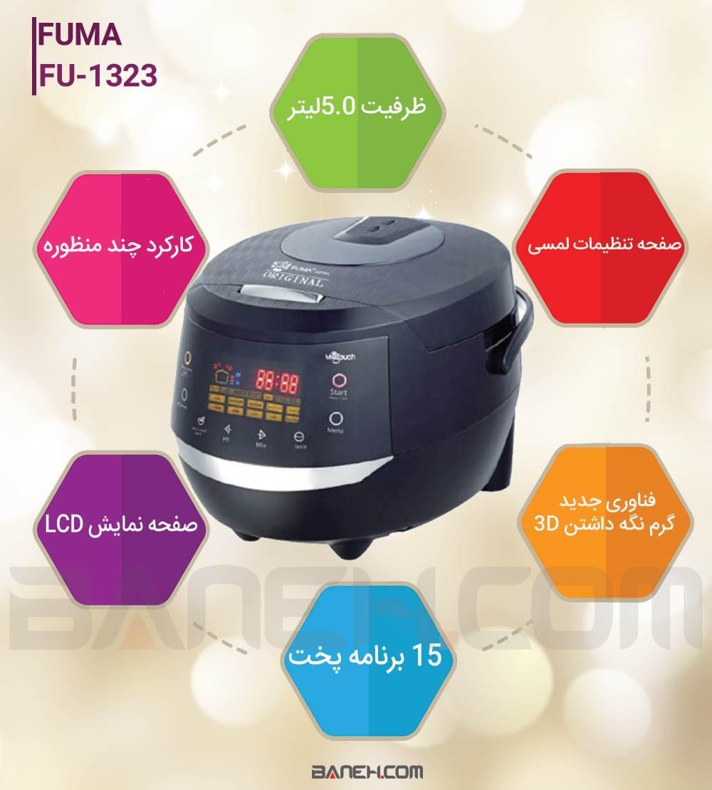 اینفوگرافی پلوپز فوما 15 کاره Fuma fu-1323 Rice Cooker