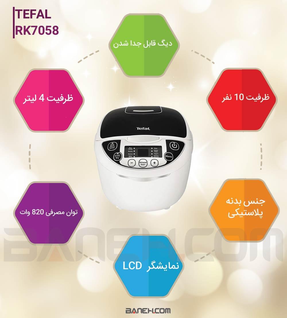 اینفوگرافی پلوپز تفال 10 نفره مدل TEFAL RK7058 Electric Rice Cooker