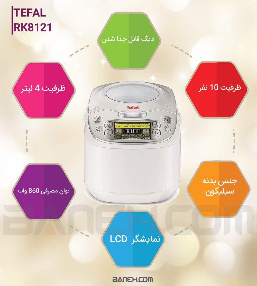 اینفوگرافی پلوپز تفال 10 نفره مدل TEFAL RK8121 Electric Pressure Cooker