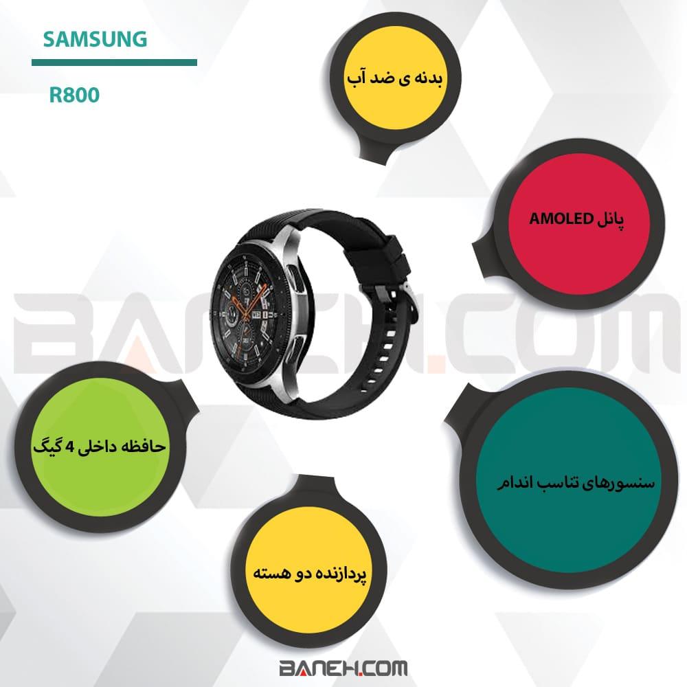 اینفوگرافی ساعت هوشمند سامسونگ R800