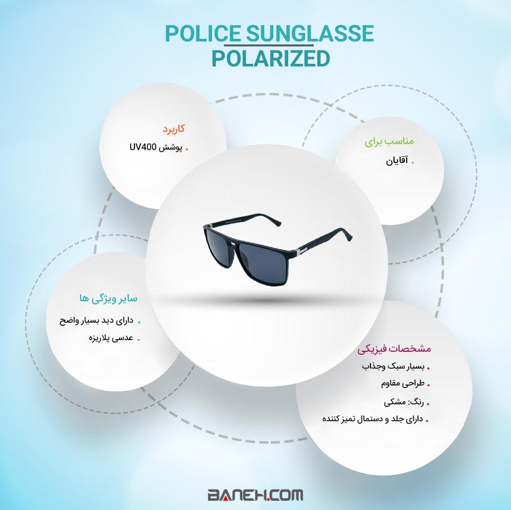 اینفوگرافی عینک آفتابی پلیس پلاریزه