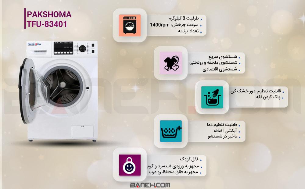 اینفوگرافی ماشین لباسشویی 8 کیلو پاکشوما WASHING MACHINE PAKSHOMA 8KG TFU-83401
